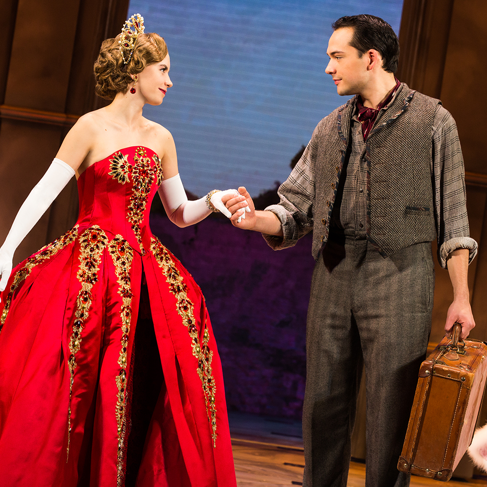 (Lila Coogan (Anya), Stephen Brower (Dmitry), National Tour of ANASTASIA. Photo by Evan Zimmerman, MurphyMade.)